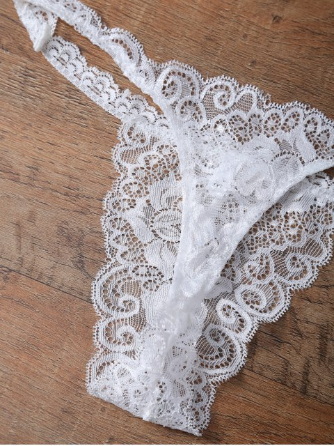 trendy Unlined Lace Bandeau Bra and Panty - WHITE M Mobile
