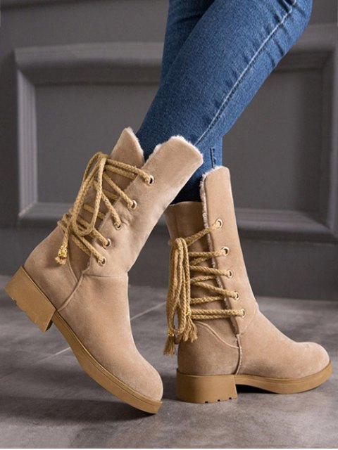 outfits Back Lace Up Mid Calf Snow Boots - APRICOT 38 Mobile