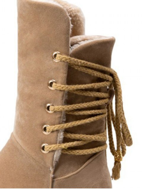 outfit Back Lace Up Mid Calf Snow Boots - APRICOT 37 Mobile