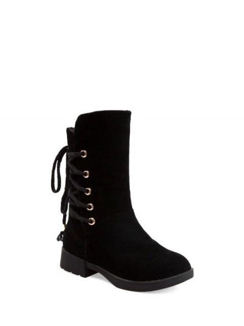 shop Back Lace Up Mid Calf Snow Boots - BLACK 39 Mobile