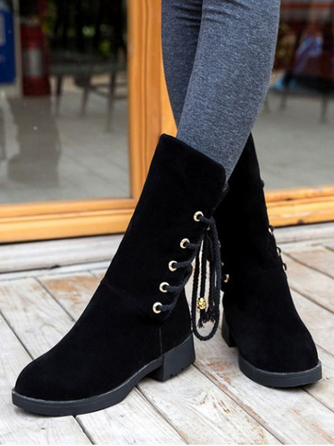 shops Back Lace Up Mid Calf Snow Boots - BLACK 37 Mobile