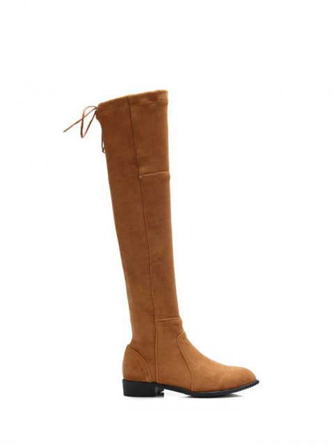 unique Flock Flat Heel Thigh Boots - BROWN 37 Mobile