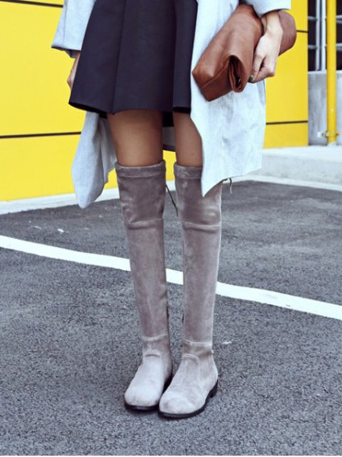 buy Flock Flat Heel Thigh Boots - GRAY 37 Mobile