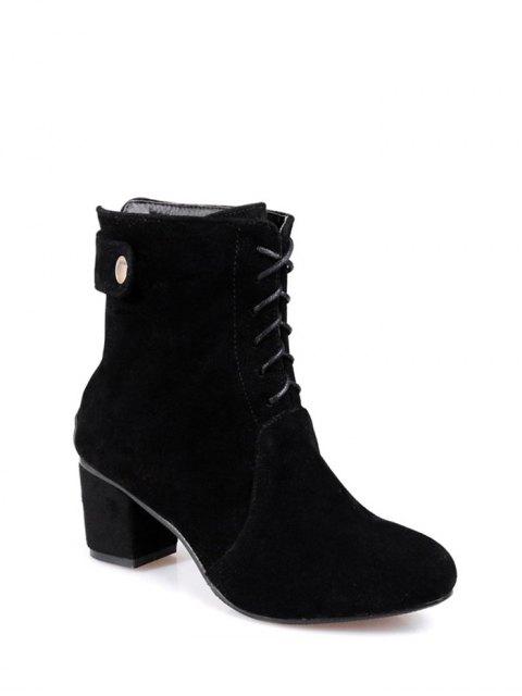 women's Criss-Cross Mid Heel Suede Short Boots - BLACK 37 Mobile