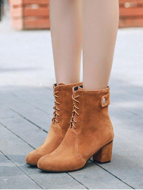 online Criss-Cross Mid Heel Suede Short Boots - BROWN 38 Mobile
