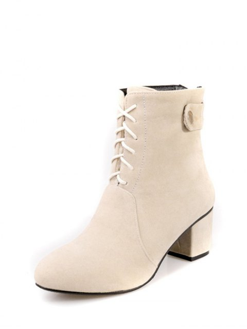 new Criss-Cross Mid Heel Suede Short Boots - APRICOT 39 Mobile