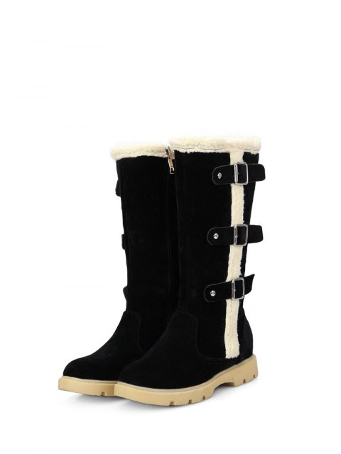 shops Faux Shearling Panel Mid Calf Boots - BLACK 38 Mobile
