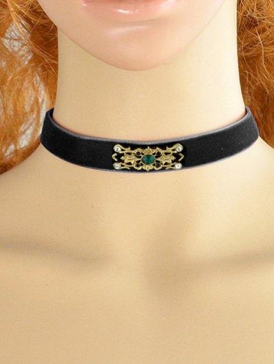 Faux Crystal Badge Velvet Necklace - BLACK  Mobile
