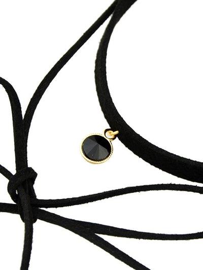 Round Tassel Layered  Choker Necklace - BLACK  Mobile