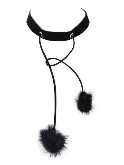 Fuzzy Ball Velvet Choker Necklace - BLACK  Mobile