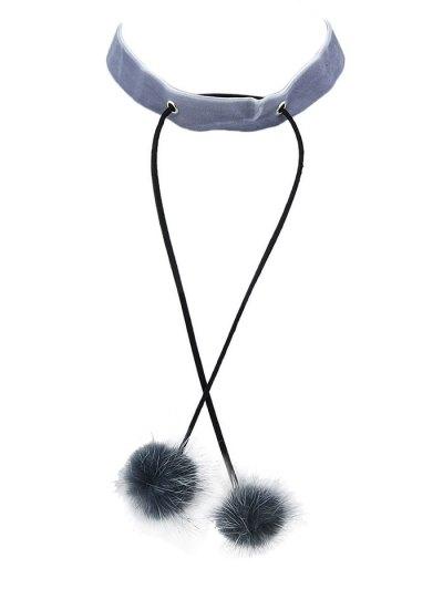 Fuzzy Ball Velvet Choker Necklace - GRAY  Mobile