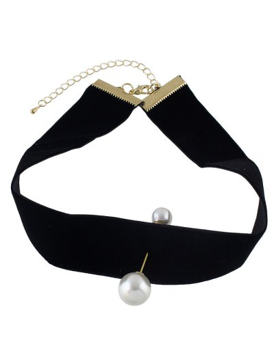 Fake Pearl Leather Wide Choker - BLACK  Mobile