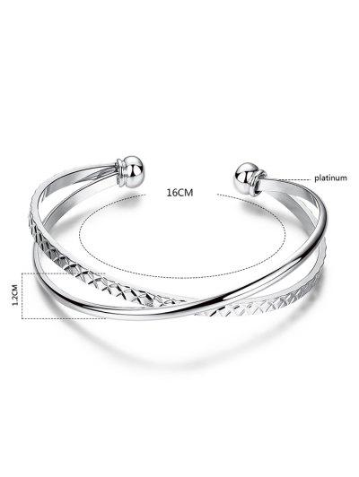 Crossover Engraved Bracelet - SILVER  Mobile