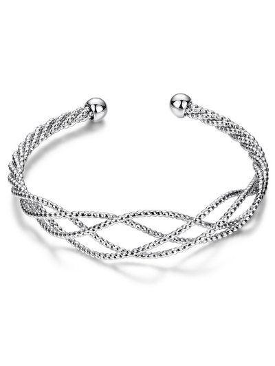 Cable Hollowed Bracelet - SILVER  Mobile
