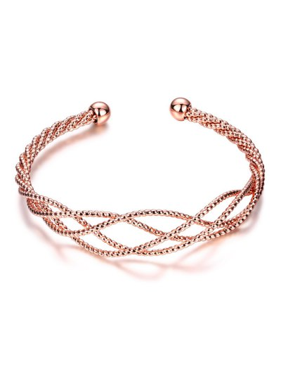 Cable Hollowed Bracelet - ROSE GOLD  Mobile