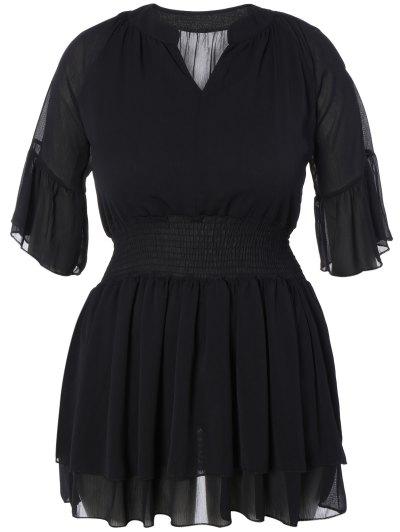 V Neck Shirred Cold Shoulder Dress - BLACK 5XL Mobile