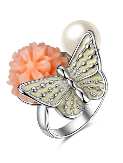 Faux Pearl Butterfly Floral Embellished Ring - SILVER 8 Mobile