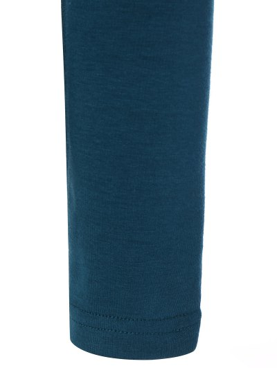 Turtle Neck Long Sleeve Fleeced T-Shirt - PEACOCK BLUE XL Mobile