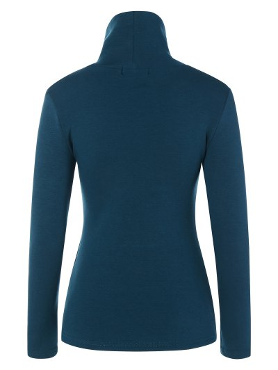 Turtle Neck Long Sleeve Fleeced T-Shirt - PEACOCK BLUE L Mobile