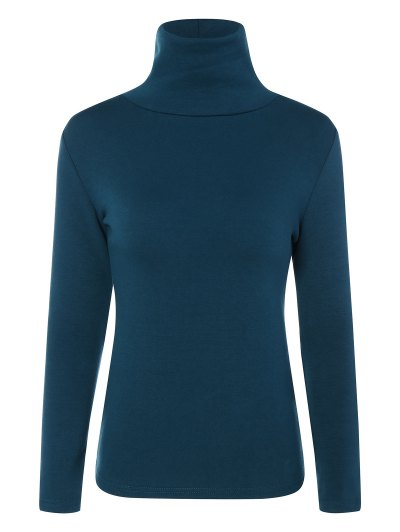 Turtle Neck Long Sleeve Fleeced T-Shirt - PEACOCK BLUE S Mobile