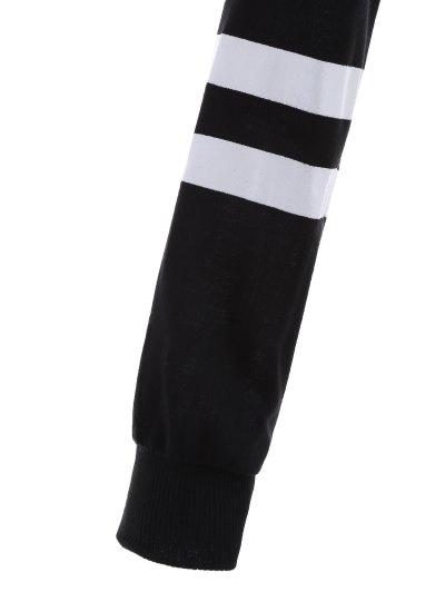 Frayed Raglan Sleeve Cropped Hoodie - WHITE AND BLACK XL Mobile