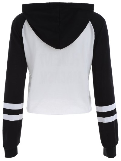 Frayed Raglan Sleeve Cropped Hoodie - WHITE AND BLACK M Mobile