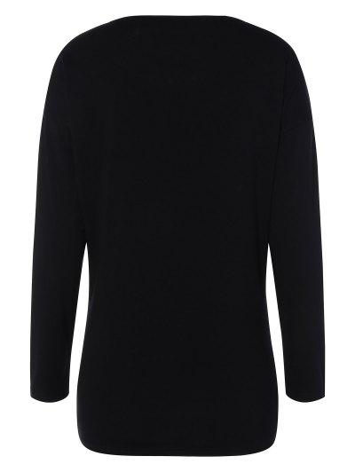 Long Sleeve Cartoon Letter T-Shirt - BLACK XL Mobile