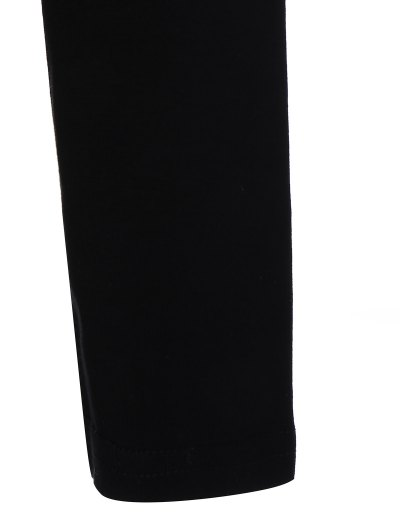 Long Sleeve Cartoon Letter T-Shirt - BLACK L Mobile