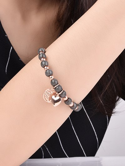 Heart Dull Polished Beaded Bracelet - BLACK AND ROSE GOLD  Mobile