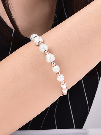 Dull Polished Beaded Bracelet - SILVER AND GOLDEN  Mobile