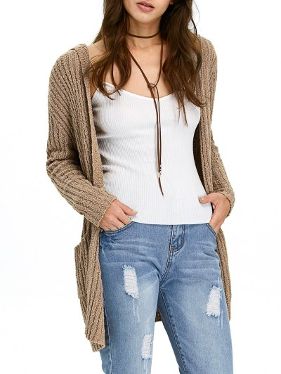 Ribbed Double Pockets Hooded Cardigan - BROWN XL Mobile