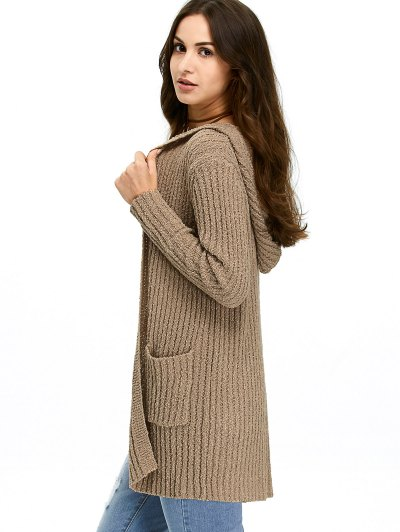 Ribbed Double Pockets Hooded Cardigan - BROWN L Mobile