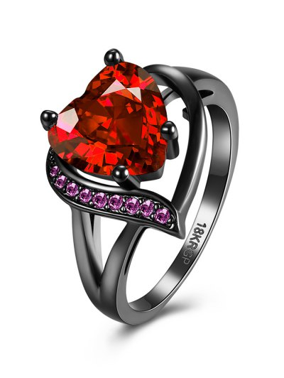 Rhinestoned Heart Shape Ring - RED 7 Mobile