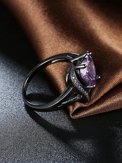 Rhinestoned Heart Shape Ring - PURPLE 6 Mobile