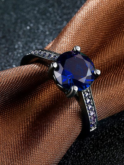 Faux Gemstone Ring - BLUE 6 Mobile