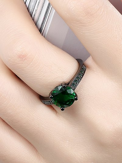 Faux Gemstone Ring - GREEN 7 Mobile