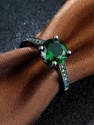 Faux Gemstone Ring - GREEN 6 Mobile
