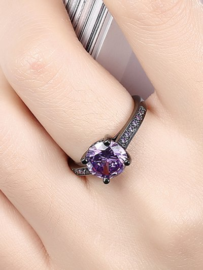 Faux Gemstone Ring - PURPLE 7 Mobile