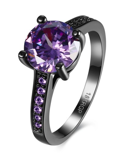 Faux Gemstone Ring - PURPLE 6 Mobile