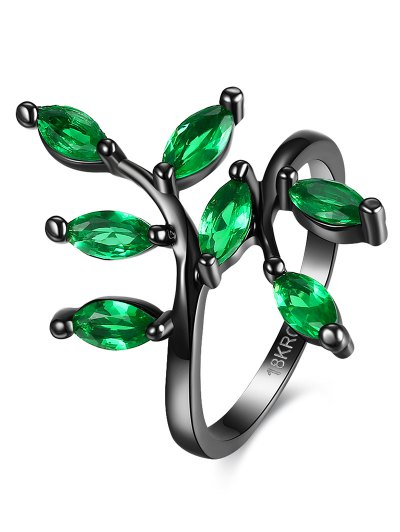 Faux Gemstone Leaf Ring - GREEN 7 Mobile
