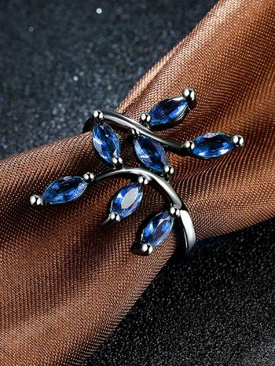 Faux Gemstone Leaf Ring - BLUE 7 Mobile