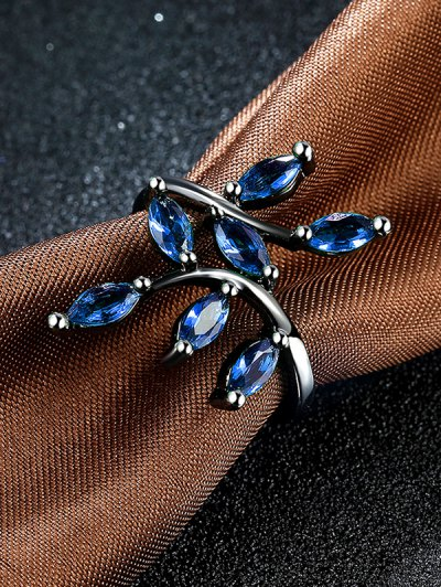 Faux Gemstone Leaf Ring - BLUE 6 Mobile