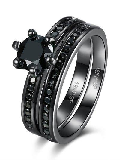 2PCS Rhinestoned Rings - BLACK 7 Mobile