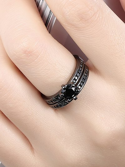 2PCS Rhinestoned Rings - BLACK 6 Mobile