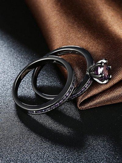 2PCS Rhinestoned Rings - PURPLE 7 Mobile