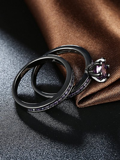 2PCS Rhinestoned Rings - PURPLE 6 Mobile
