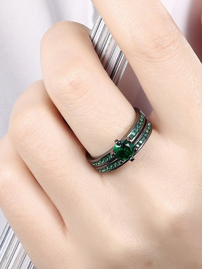 2PCS Rhinestoned Rings - GREEN 7 Mobile