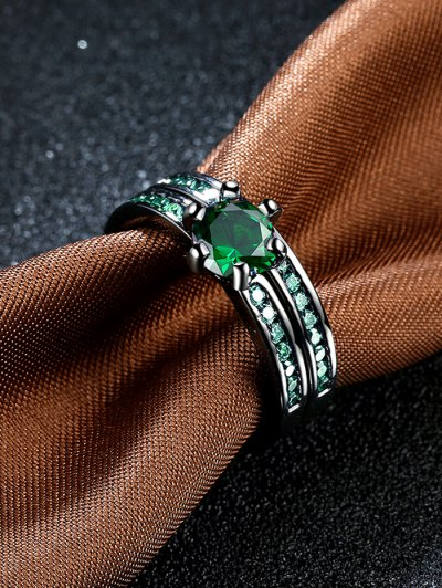 2PCS Rhinestoned Rings - GREEN 6 Mobile