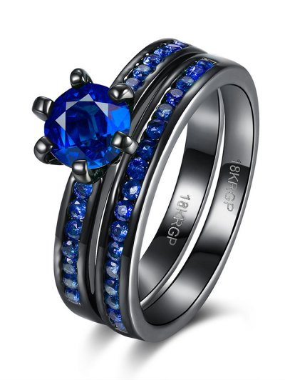 2PCS Rhinestoned Rings - BLUE 7 Mobile