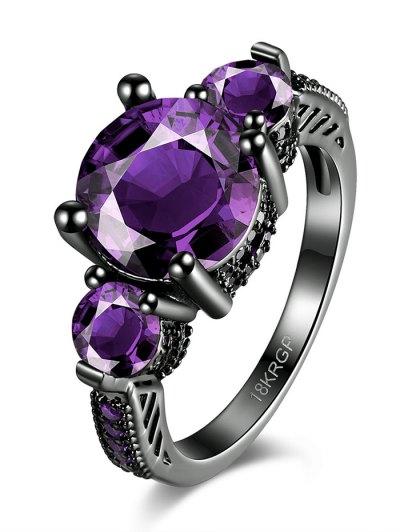 Vintage Faux Gemstone Ring - PURPLE 6 Mobile